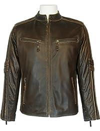 UNICORN Hommes Réel en cuir Veste à grain Biker style Brun #S4