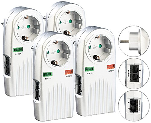 dsl blitzschutz revolt Blitzschutz-Steckdose: 4er-Set 6in1-Überspannungsschutz für TV, HiFi, LAN & Telefon (Überspannungsschutz-Netzfilter)