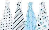 Der Swaddle Baumwolle Company Wale/Anker/Sterne und Streifen Baby Receiving Decke (70x 70cm, dunkelblau/hellblau/weiß/grau, Set von 4)