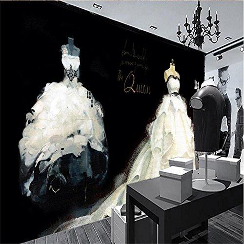 HAIYUANNAN Wallpaper personalisierte Mode handgemalte Kunst Hochzeit Kleid Muster 3D Custom Murals Wedding Dress Shops/Bekleidungsgeschäft Wall (Hochzeit Für Kleid Steamer)