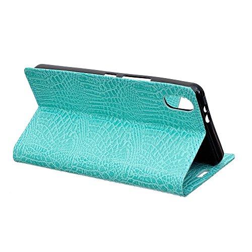 JIALUN-Telefon Fall Krokodil Textur Premium Leder Tasche Geldbörse Tisch Tasche für iPhone 8 ( Color : Black ) Green