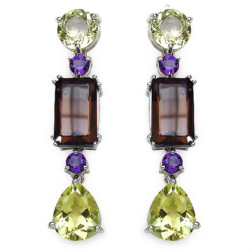 Johareez 18.76CTW Genuine Smoky Topaz, Lemon Topaz & Amethyst .925 Sterling Silver Earrings
