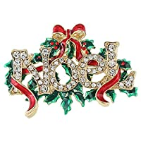 EVER FAITH® Noel Christmas Tree Red Ribbon Brooch Austrian Crystal Gold-Tone N04535-2