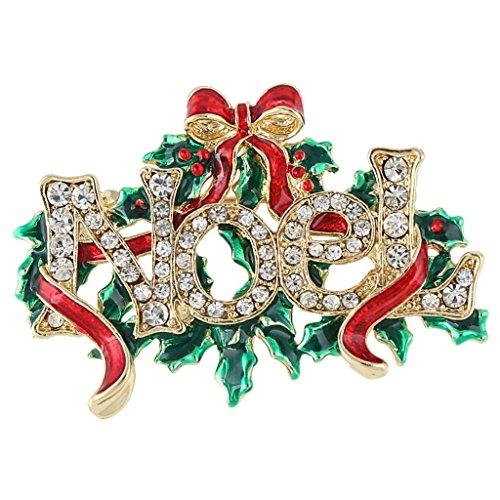 Ever Faith Noel Albero di Natale rosso del nastro Spilla austriaco di cristallo Gold-Tone N04535-2 - Bambino Epoca Spilla Gioiello
