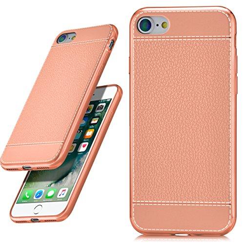 Apple iPhone 7/8 Hülle Leder-Optik Rosé-Gold OneFlow Palmero Silikon-Hülle Dünn Schutzhülle TPU Handyhülle für iPhone 7/8 Case Ultra-Slim - Kompakte Hard Kamera Case