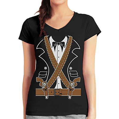 Kostüm Mexikanischer Ganove Mariachi Pistolen Damen T-Shirt V-Ausschnitt Medium Schwarz