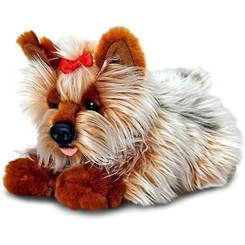 Keel Toys Animale di peluche Cane Yorkies, animale da coccolare sdraiato di 30 cm circa insieme al burro per il corpo, 7ml