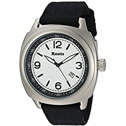 Roots Men's 'Core' Quartz Stainless Steel and Canvas Casual Watch, Color:Black (Model: 1R-PR100WH6B)