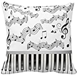 NicholasCGShopOnline 18 x 18 Piano Keys and Musical Notes Pillow Case Home Decor Cushion Cover