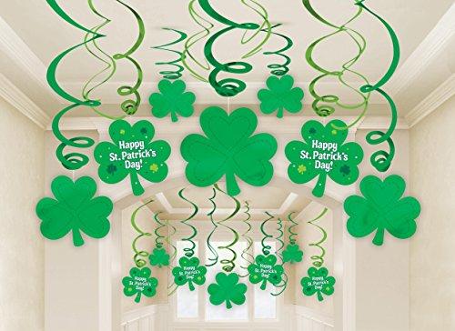 30 Stück HÄNGESPIRALEN - HAPPY ST. PATRICK DAY -, St. Patrick Day Irland 17. März Feiertag Gedenktag Lucky Shamrock Raumdekorationen