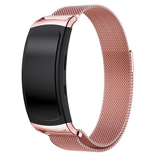 Moorovgi - Cinturino a maglia milanese con connettori per smartwatch Samsung Gear Fit 2 SM-R360 e Gear Fit 2Pro, in acciaio inossidabile