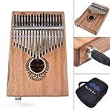 kalimba 17 clés piano à pouce en Bois - Piano à Doigts En Acajou Instrument de Musique Kalimba Mbira pour enfant et amateurs de musique et débutant, avec Sac de rangement, Couleur naturelle