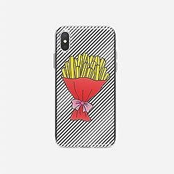 licaso Handyhülle kompatibel für Apple iPhone X I Schutzhülle aus TPU mit Pommes Frites Fritten Strauß Print I Transparente Hülle Handy Aufdruck I Weich Silikon Durchsichtig