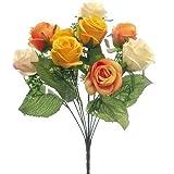 "fs 42cm Artificial Orange/Yellow & Cream Open Rose Bush with 9 Large 3"" Flower Heads - Home Garden"