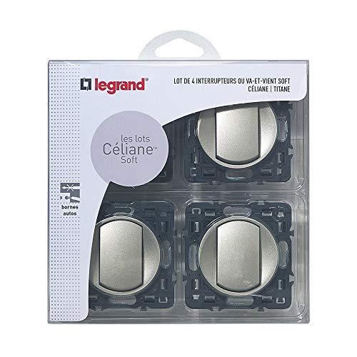 Legrand - Lot de 4 Interrupteurs va-et-vient à Composer - Céliane Soft - Interrupteur Mural Titane - 200263
