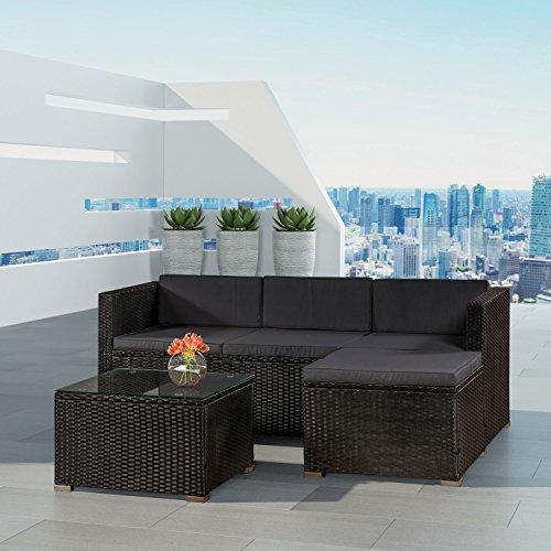 Polyrattan Lounge Punta Cana M für 3-4 Personen mit Tisch in schwarz mit Bezügen in Dunkelgrau | ArtLife
