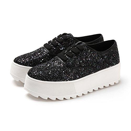 Sneakers casual primavera/Glitter, scarpe con la suola spessa piattaforma/Con profondo piatte scarpe Nero