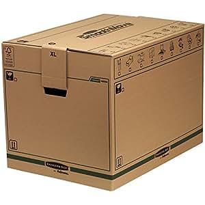 Fellowes 6205401 - Lot de 5 caisses de déménagement à charge lourde montage automatique SmoothMove - Large