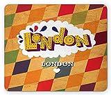 London Mauspad, England City Moderner Stil Schriftzug auf eine bunte Rhombus Gitter Hintergrund, Standard Größe Rechteck rutschfeste Gummi Mauspad, multicolor