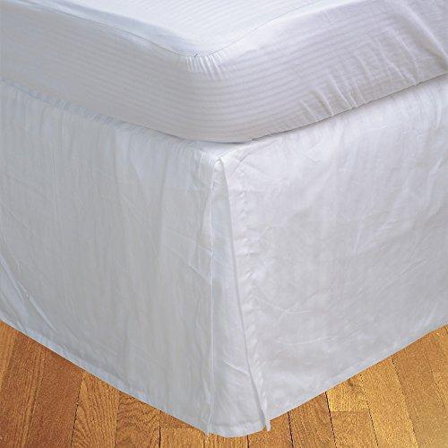 RoyalLinens 600tc Magnifique boîte plissé 1 pcs Tour de lit à Rayures (Drop Longueur : 73,7 cm), Coton, Motif Rayures Blanc, EU King IKEA