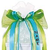 XL 3-D Schleife - incl. NAMEN / Text - 23 cm breit u. 60 cm lang - für Geschenke und Schultüten - Geschenkband / Geschenkschleife - Schleifenband groß - grün / türkis blau / weiß - mit edlen Satin Bändern, Chiffon & Kordel