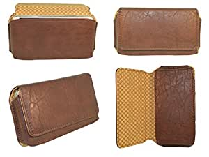 Premium Branded Fabric Leather Card Holder Pouch for LG L70 - Brown - BLPBR47#1006