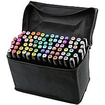 BEETEST 80 Colors Tinta pluma bolígrafo marcador Set con bolsa negra a base de pintura gráfica arte doble punta Rotuladores Alcohol cáscara del lápiz negro