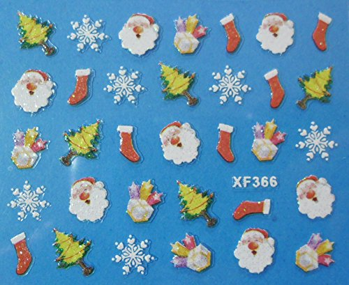 Nail art - Stickers autocollants - Stickers noël : Père noël, sapins , flocons