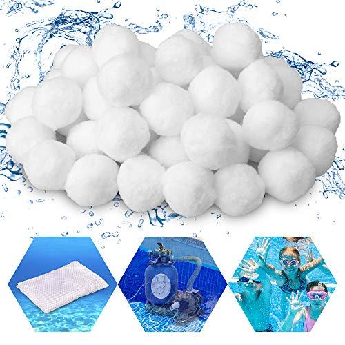 GESPERT Filter Balls 700g Filterbälle Filtermaterial für Poolpumpe, ersetzen 25 kg Filtersand Quarzsand für Pool Sandfilter, Filteranlagenzubehör mit einem Filterbeutel (Weiß)
