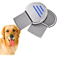 yohome Pet lice Comb Round Professional Stainless Steel detangler Pet Combs for Dogs Cat Flea Comb Grooming Brush Tool