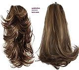 PRETTYSHOP 2 IN 1 Haarteil Pferdeschwanz Zopf Haarverlängerung Haarverdichtung ca 40cm und 50 cm braun mix #30H26 H310