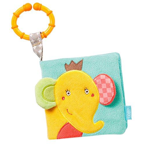 Fehn 074413 Soft-Bilderbuch Elefant / Fühlbuch aus Stoff mit Tier Motiven - mit Quietsche, Raschelpapier und Spiegel für Babys und Kleinkinder ab 0+ Monaten / Maße: 11x11 cm
