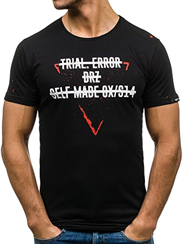 BOLF Herren T-Shirt Tee Kurzarm Aufdruck Print Camo Lang Slim Fit Mix 3C3 Motiv Schwarz_473