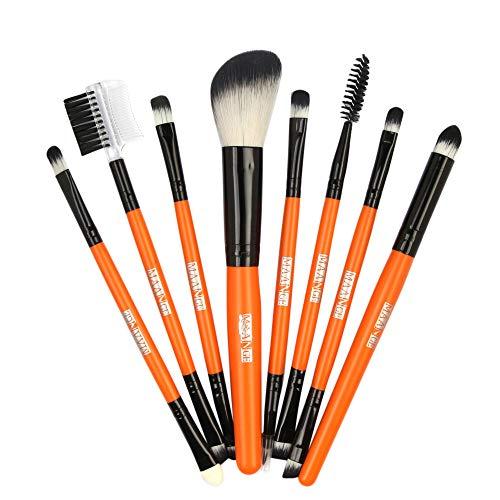 Kit De Pinceau Maquillage Professionnel8Pcs Fondation en Bois CosméTique Sourcils Fard à PaupièRes Brosse Maquillage Pinceau Ensembles De Outils Pinceau à LèVre avec Sac Nois