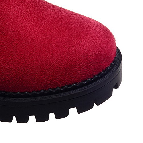 AllhqFashion Femme Haut Demi Tire à Talon Bas Rond Bottes Rouge