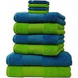 Liness 10 tlg Handtuch-Set 4 Handtücher 50x100 cm 2 Duschtücher Badetücher 70x140 cm 4 Waschhandschuhe 16x21 cm 100% Baumwolle türkis-petrol grün