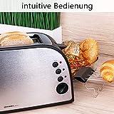TZS First Austria – gebürsteter Edelstahl 4 Scheiben Toaster 1500W mit Krümelschublade Sandwich Langschlitz | abnehmbarer Brötchenaufsatz | wärmeisoliertes Gehäuse, stufenlose Temperatureinstellung - 4