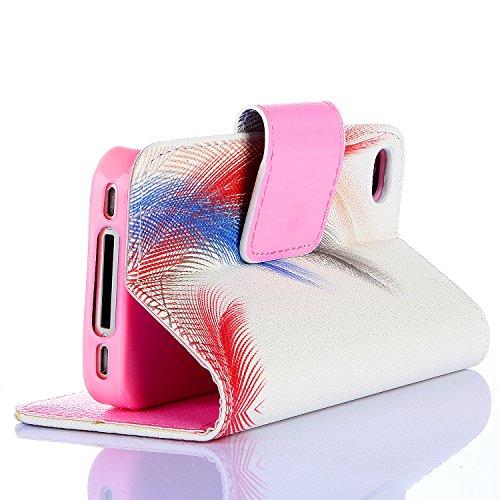 Beiuns Étui en Simili cuir pour Apple iPhone 5 5G 5S Housse Coque - G148 bleu chat R132 dessin simple plume