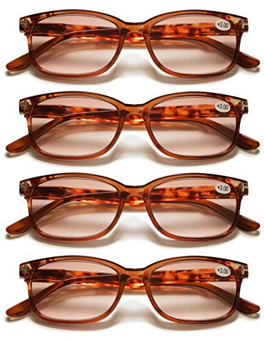 KOOSUFA Lesebrille Outdoor Damen Herren Retro Nerd Brille Lesehilfen Sehhilfe Federscharniere Vollrandbrille Anti Müdigkeit mit Stärke 1.0 1.5 2.0 2.5 3.0 3.5 4.0 (4x Braun, 3.0)