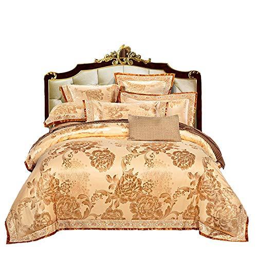 Copripiumino cotone set copripiumino, piumino jacquard coprire biancheria da letto set, di alta qualità tiansi raso cotone jacquard di nozze confortevole letto morbido traspirante quattro set-oro