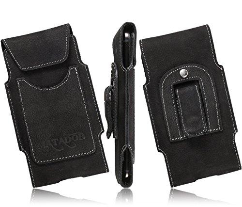 Matador Echtleder Slim Design Tasche für Motorola Moto G 2.Generation 4G LTE (2014) Handytasche Gürteltasche Vertikaltasche in Schwarz mit Gürtelclip/Gürtelschlaufe & EC./Kreditkartenfach