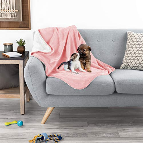 PETMAKER Waterproof Pet Blanket - 40inx30in Plush Lap Throw Protects Couch, Chair, Car, Bed from Spills, Stains, or Fur-Machine Washable (Pink) -