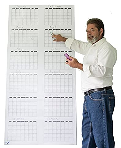 Dry Erase Annual Planner - Fiscal Year Calendar - Large Perpetual Year Planner 36