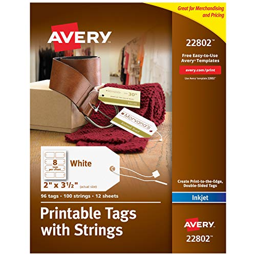 Avery Bedruckbare Etiketten mit Faden für Tintenstrahldrucker Pack of 96 weiß