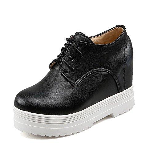 VogueZone009 Femme Couleur Unie Pu Cuir à Talon Haut Rond Lacet Chaussures Légeres Noir