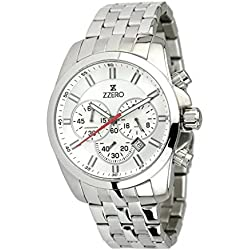 Zzero Men's Quartz Watch zz3414b Quandrante White Stainless Steel Strap