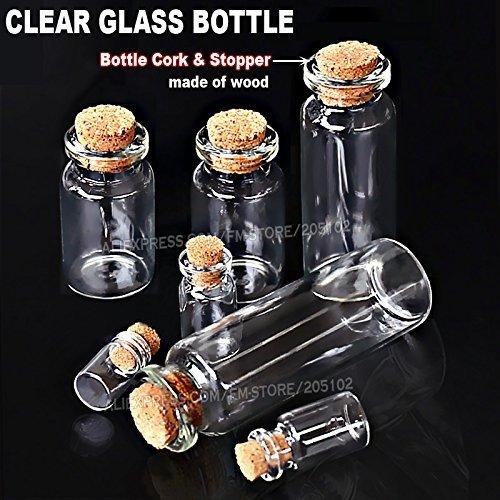 Generic 2point5ml 100: 1–25ml leer natureas Glasflaschen Flakon mit Kork Stopper für Heimwerker Wish Nachricht Probe Parfüm Behälter Nail Art Perle Reagenz