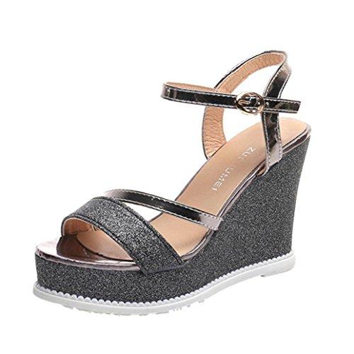Sandalias para Mujer, RETUROM 2018 Zapatos de cuña de mujer de las señoras Zapatos de tacón alto de la plataforma de las sandalias de verano (37, Oro)
