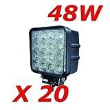 Miracle LED 48W projecteurs spots idéal pour véhicule tout-terrain, chantier, phares anti-brouillard de camion, Jeep, bateau, 4x4, 12V-24V (20 pièces)