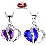 (2 PCS COMBO SET) GALAXINA PENDANTS WITH PREMIUM HEART SHAPED BLUE & PURPLE CRYSTAL STONE - THE MOST LOVABLE, CHERISHED & A LIFE TIME VALENTINE GIFT TO ❤SOMEONE SPECIAL❤ EXCLUSIVELY ONLY FOR PROFOUND & PASSIONATE LOVE. LADY HAWK